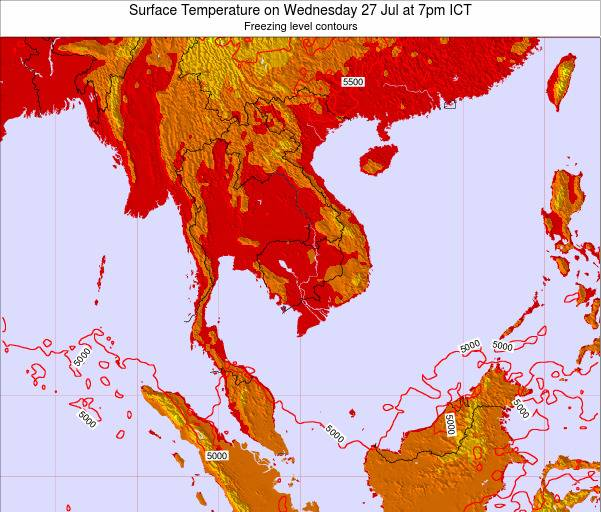 VietNam Surface Temperature on Wednesday 26 Jun at 1pm ICT