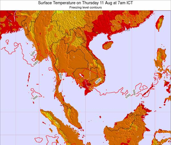 VietNam Surface Temperature on Monday 04 Aug at 1am ICT