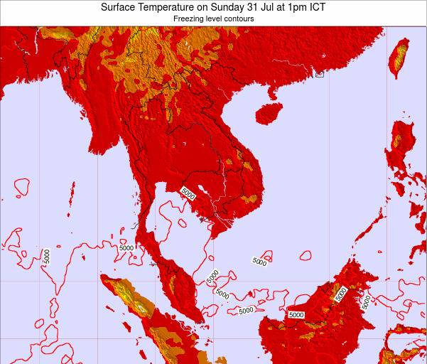 VietNam Surface Temperature on Friday 14 Mar at 1am ICT
