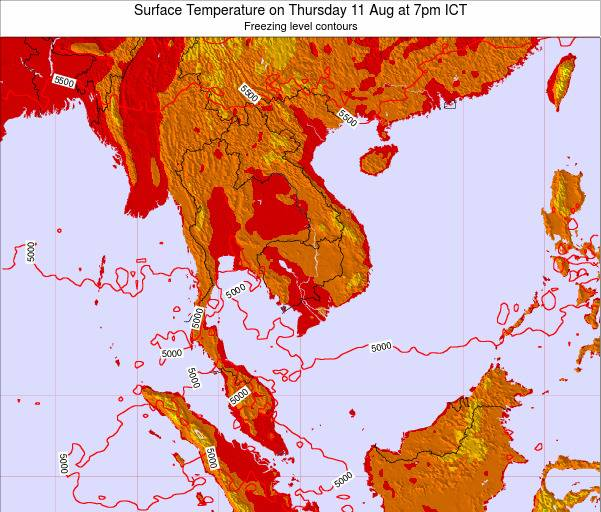 VietNam Surface Temperature on Tuesday 10 Mar at 7am ICT