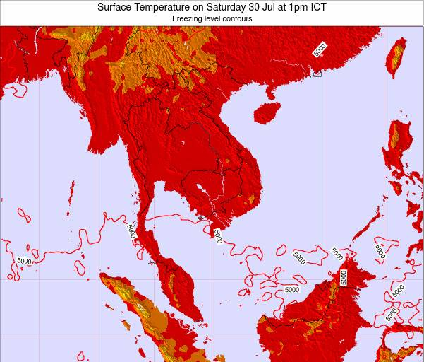 VietNam Surface Temperature on Wednesday 30 Jul at 7am ICT