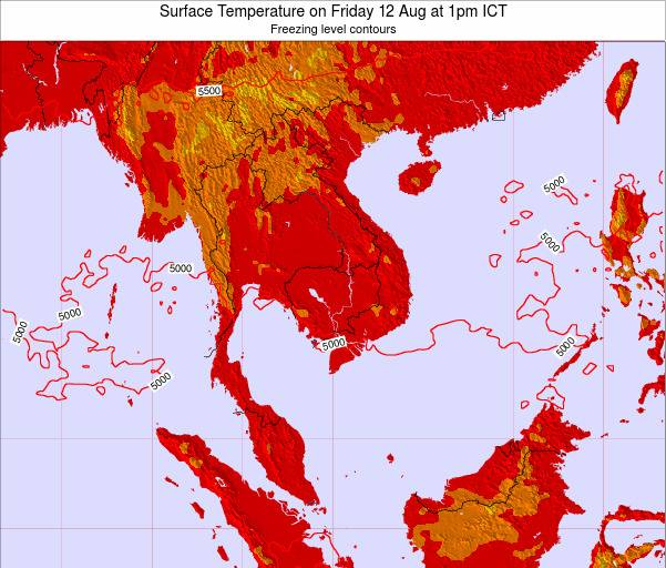 VietNam Surface Temperature on Friday 20 Dec at 1pm ICT