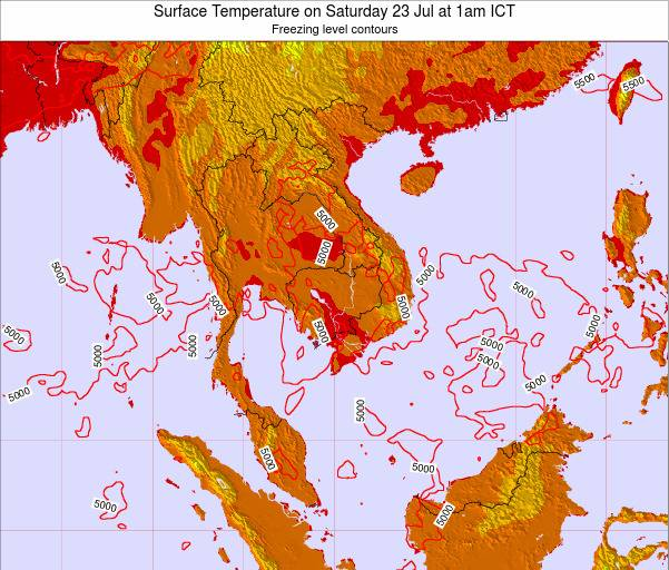 VietNam Surface Temperature on Thursday 25 Sep at 7am ICT
