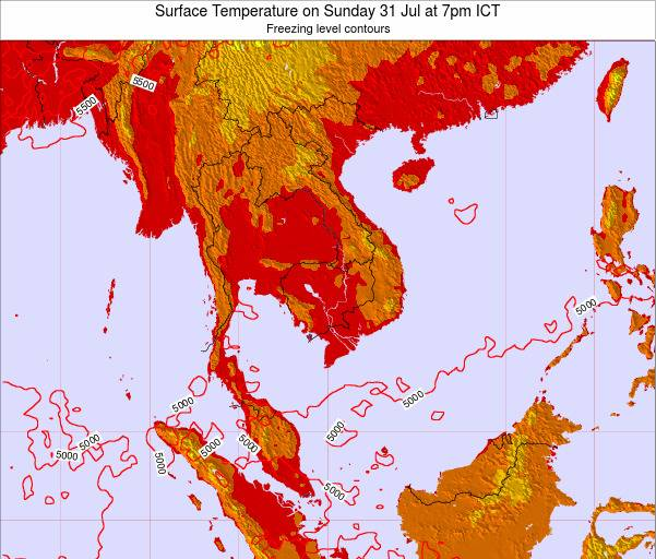 VietNam Surface Temperature on Thursday 24 Apr at 7pm ICT