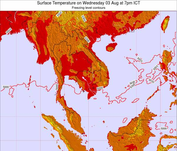 VietNam Surface Temperature on Saturday 07 Dec at 7am ICT