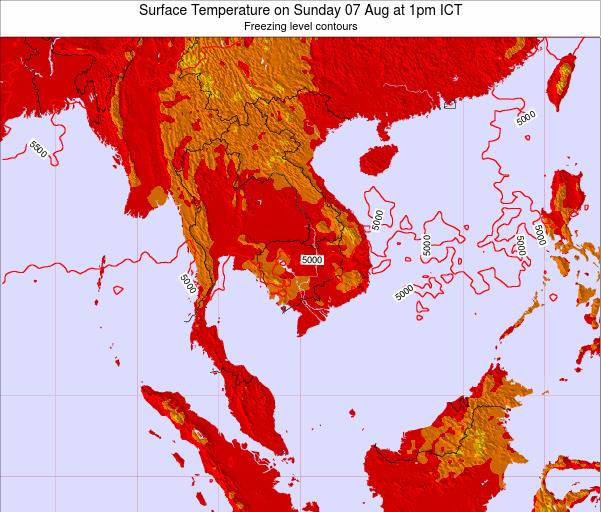 VietNam Surface Temperature on Sunday 20 Apr at 7am ICT