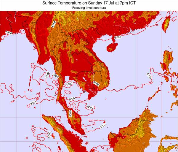 VietNam Surface Temperature on Tuesday 11 Mar at 1pm ICT