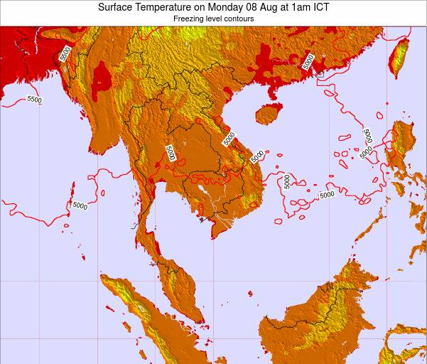 VietNam Surface Temperature on Sunday 27 Jul at 7pm ICT