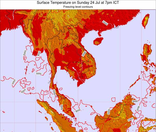 VietNam Surface Temperature on Thursday 21 Aug at 1pm ICT