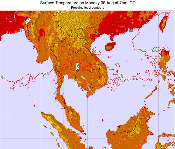 VietNam Surface Temperature on Sunday 03 Aug at 7am ICT
