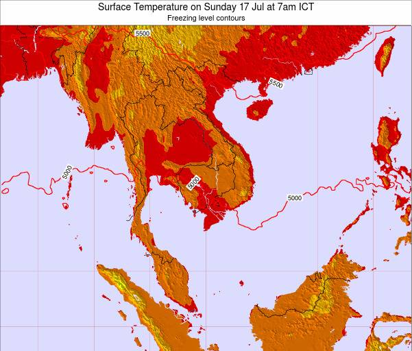 VietNam Surface Temperature on Friday 24 May at 1pm ICT