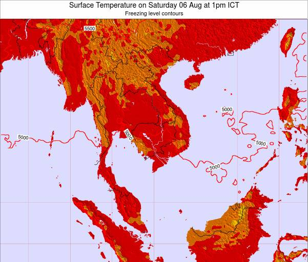 VietNam Surface Temperature on Friday 01 Aug at 7am ICT