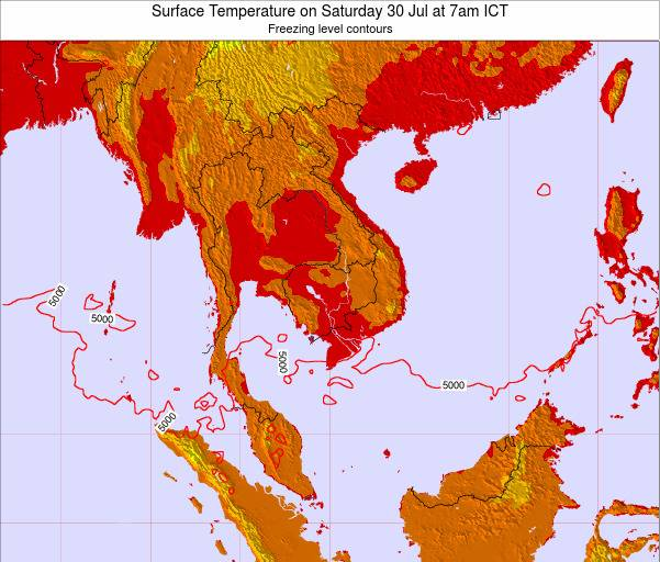 VietNam Surface Temperature on Monday 10 Mar at 1am ICT
