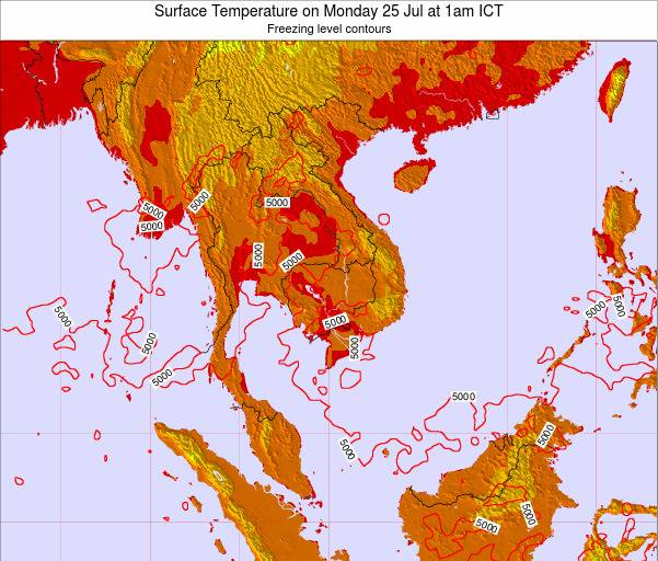VietNam Surface Temperature on Sunday 21 Sep at 7pm ICT