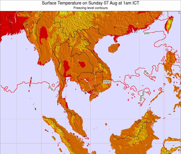VietNam Surface Temperature on Tuesday 28 May at 7am ICT