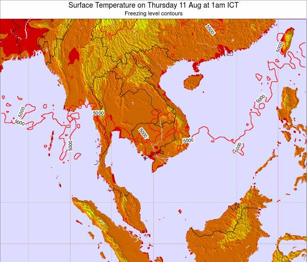 VietNam Surface Temperature on Sunday 27 Apr at 1am ICT