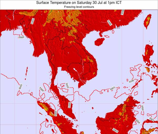 VietNam Surface Temperature on Sunday 21 Dec at 7am ICT