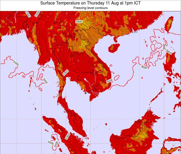 VietNam Surface Temperature on Friday 13 Dec at 1pm ICT