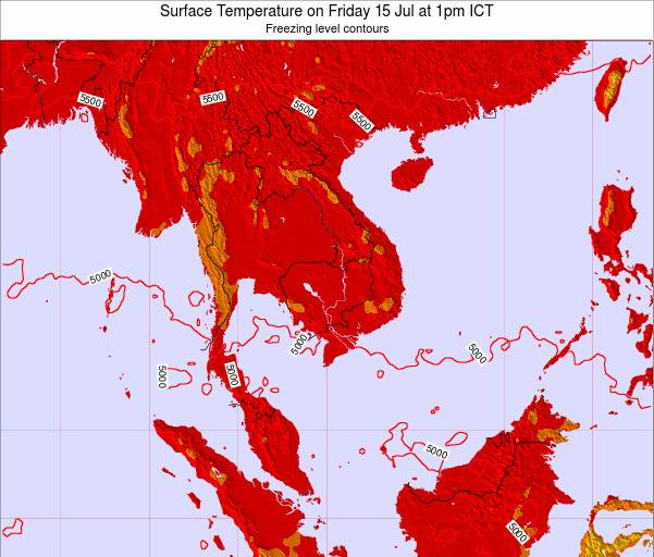 VietNam Surface Temperature on Saturday 26 Jul at 1pm ICT
