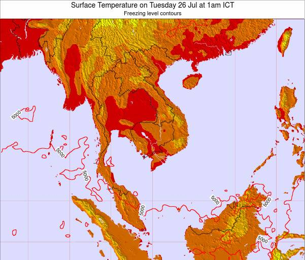 VietNam Surface Temperature on Wednesday 30 Jul at 1pm ICT