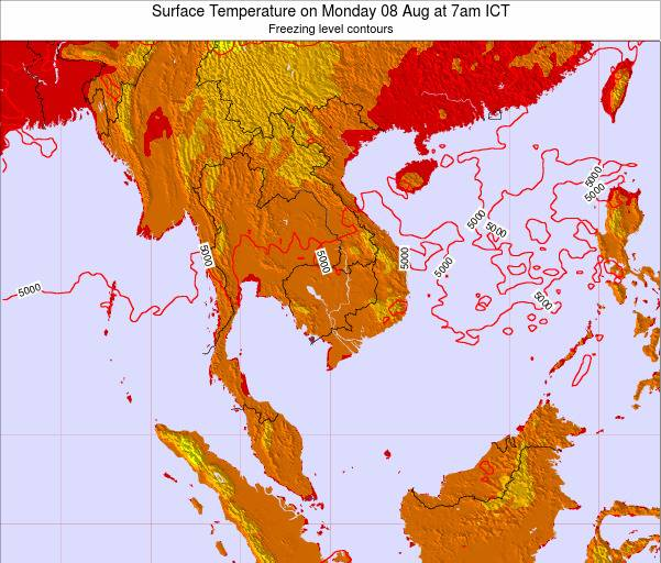 VietNam Surface Temperature on Saturday 19 Apr at 7am ICT
