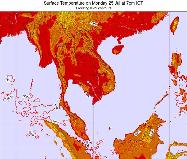 VietNam Surface Temperature on Wednesday 22 May at 1pm ICT