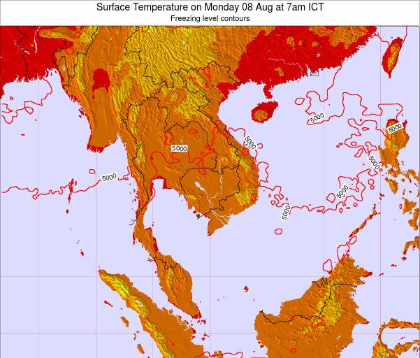 VietNam Surface Temperature on Thursday 13 Mar at 1pm ICT