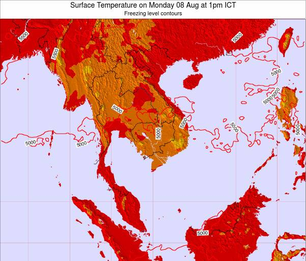 VietNam Surface Temperature on Saturday 02 Aug at 1am ICT