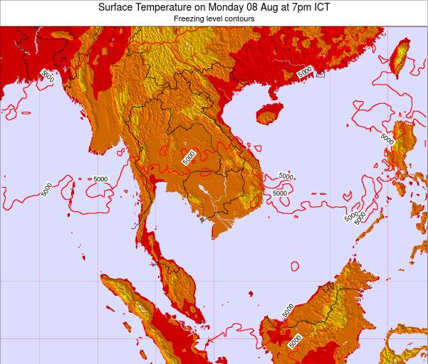 VietNam Surface Temperature on Friday 25 Apr at 7pm ICT