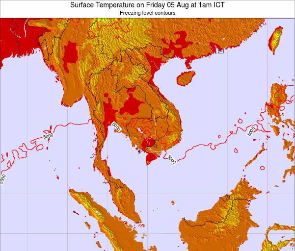 VietNam Surface Temperature on Monday 28 Jul at 7pm ICT