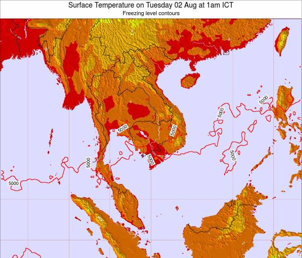 VietNam Surface Temperature on Wednesday 22 Oct at 7pm ICT
