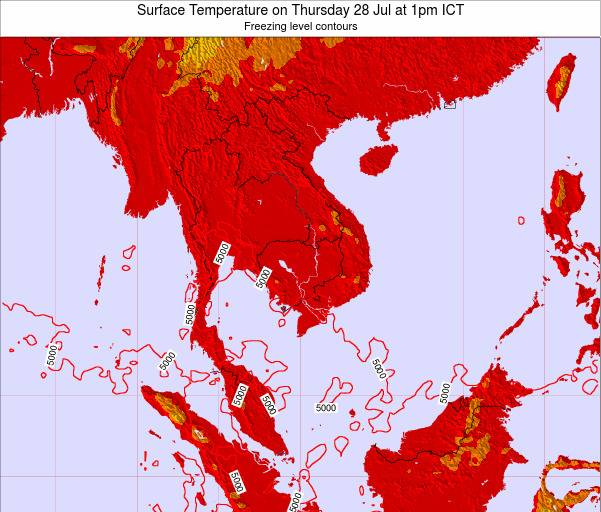 VietNam Surface Temperature on Thursday 20 Jun at 7am ICT