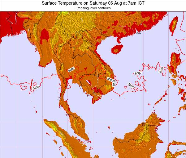 VietNam Surface Temperature on Wednesday 23 Apr at 7pm ICT