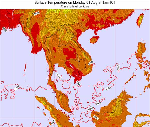 VietNam Surface Temperature on Tuesday 23 Sep at 1am ICT