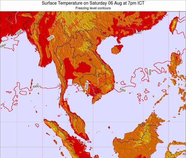VietNam Surface Temperature on Thursday 05 Dec at 7pm ICT