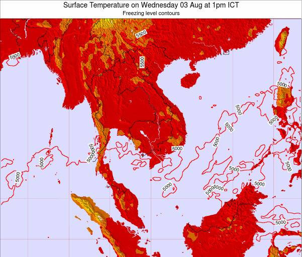 VietNam Surface Temperature on Saturday 25 May at 7am ICT