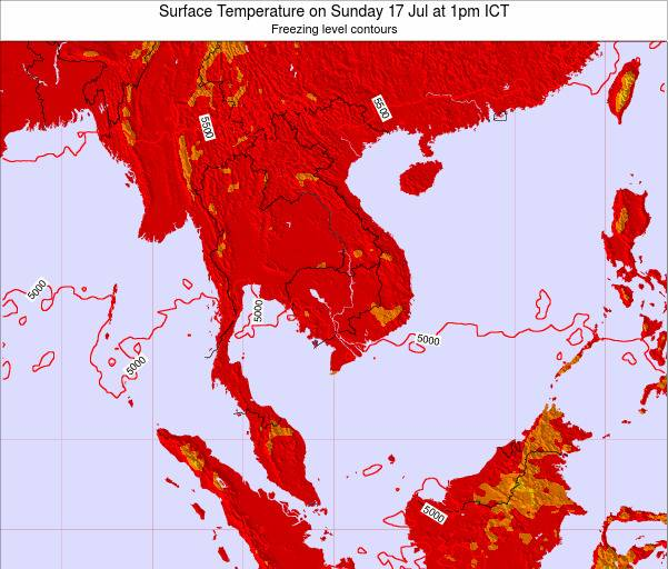 VietNam Surface Temperature on Sunday 16 Mar at 7am ICT