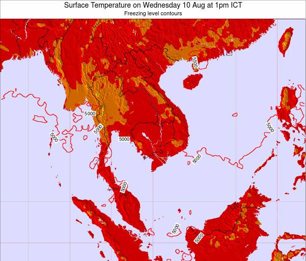 VietNam Surface Temperature on Sunday 03 Aug at 7pm ICT
