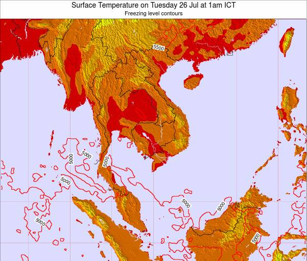 VietNam Surface Temperature on Tuesday 28 May at 1am ICT