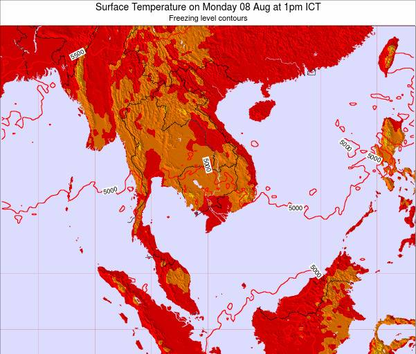 VietNam Surface Temperature on Monday 09 Dec at 1am ICT