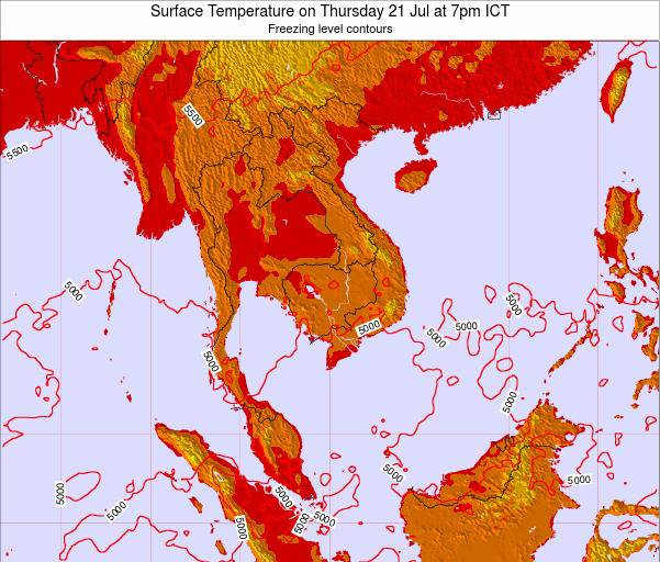 VietNam Surface Temperature on Wednesday 12 Mar at 1pm ICT