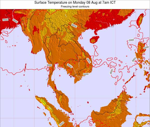 VietNam Surface Temperature on Sunday 20 Apr at 1pm ICT