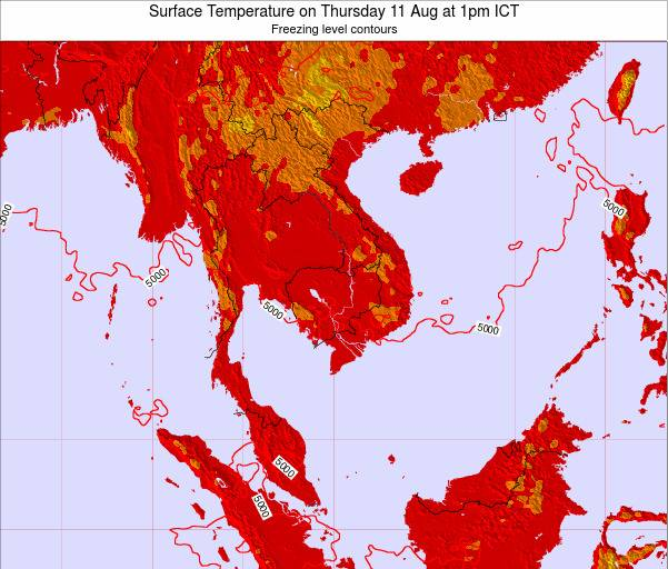 VietNam Surface Temperature on Sunday 27 Apr at 7am ICT