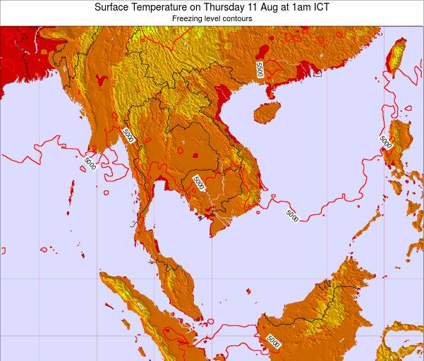 VietNam Surface Temperature on Monday 01 Jun at 1pm ICT