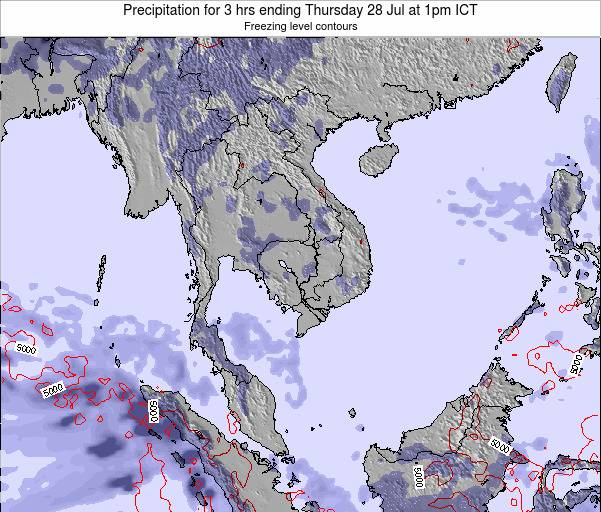 Thailand Precipitation for 3 hrs ending Friday 24 May at 1pm ICT