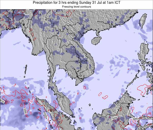 Thailand Precipitation for 3 hrs ending Wednesday 29 May at 7pm ICT