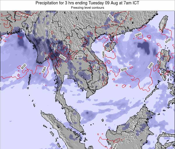 Thailand Precipitation for 3 hrs ending Tuesday 21 May at 7pm ICT