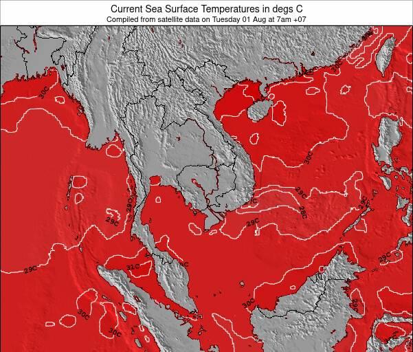 Laos Temperatura del Mar Mapa