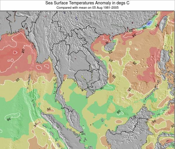 Cambodia Sea Temperature Anomaly Map