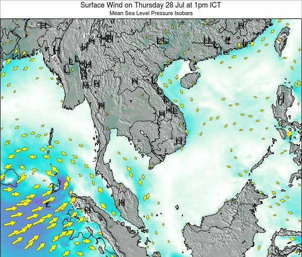 Cambodia Surface Wind on Tuesday 29 Apr at 1pm ICT